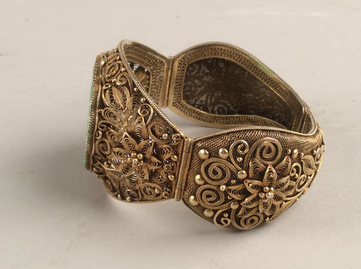 Opening Bracelet Rigid Silver Gold And Jade, Qing Dynasty China-photo-3