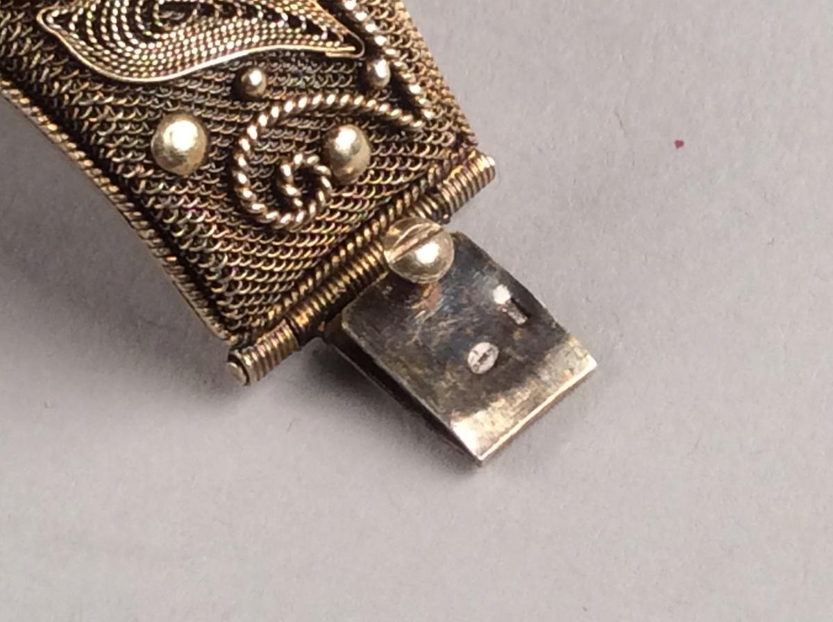 Opening Bracelet Rigid Silver Gold And Jade, Qing Dynasty China-photo-5