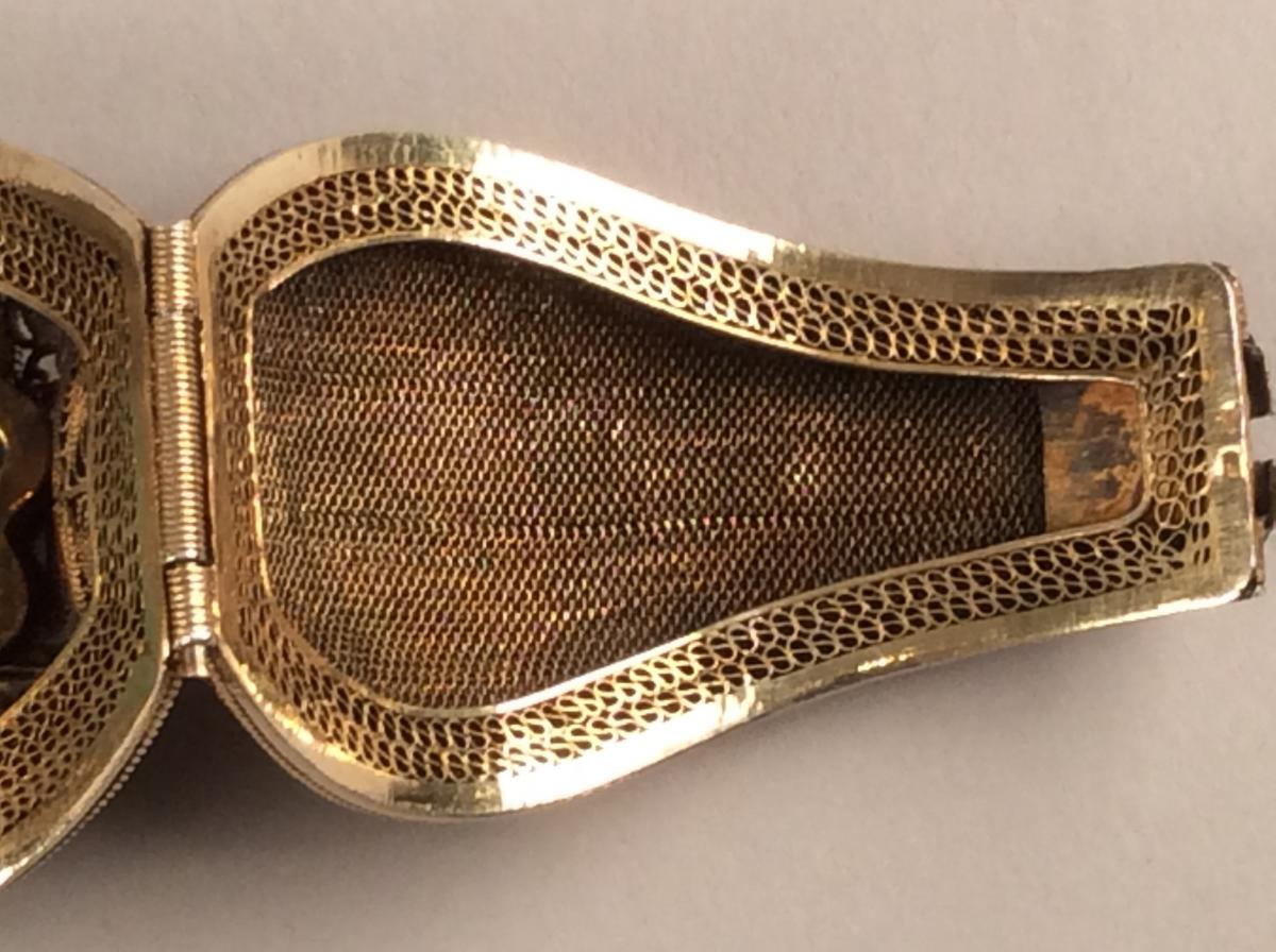Opening Bracelet Rigid Silver Gold And Jade, Qing Dynasty China-photo-7