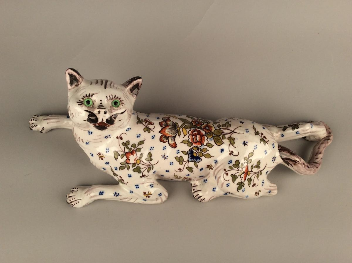 Desvres, Cat, Flowerbowl Early 20th Century