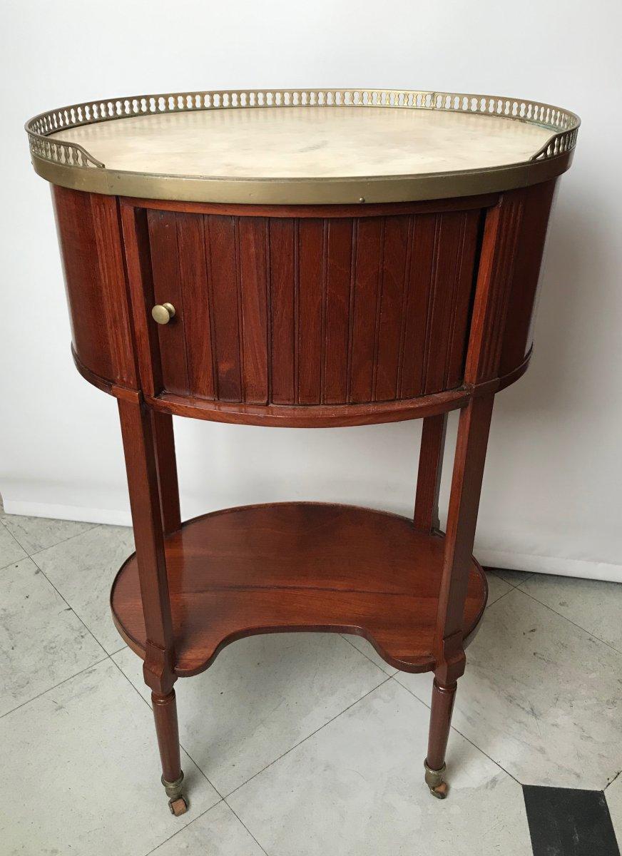 Table De Chevet Ovale En Acajou d'époque Louis XVI