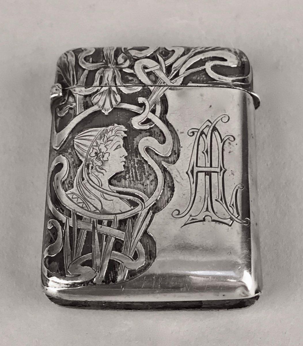 Boîte d'Allumettes En Argent d'époque Art Nouveau