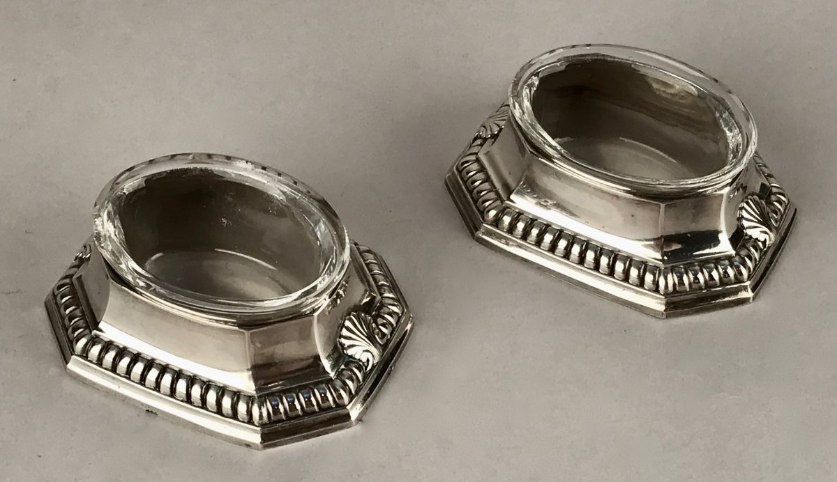 Pair Of Silver Saltcellars Louis XIV Style