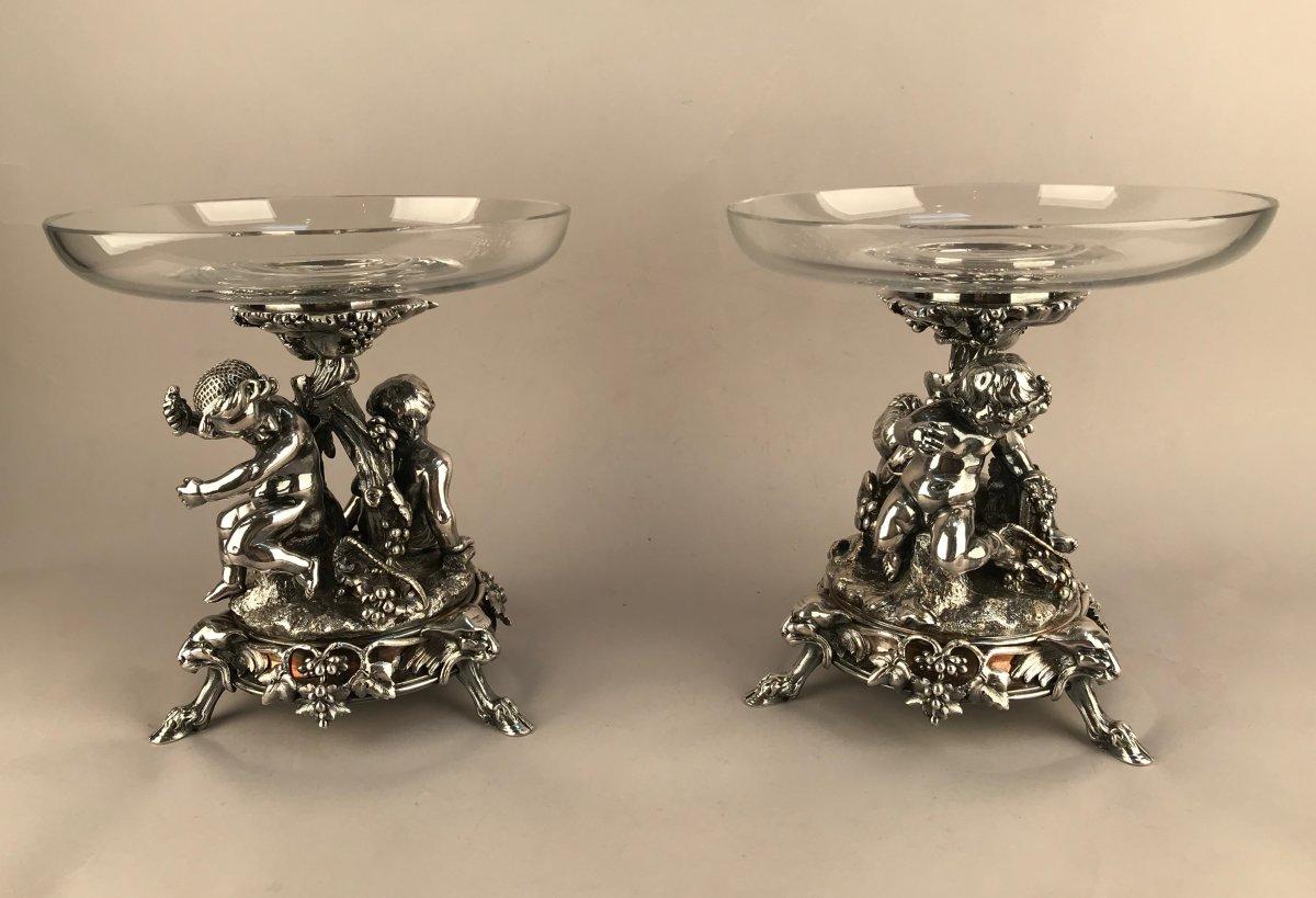 Christofle 1888. Paire De  Coupes En Bronze Argenté