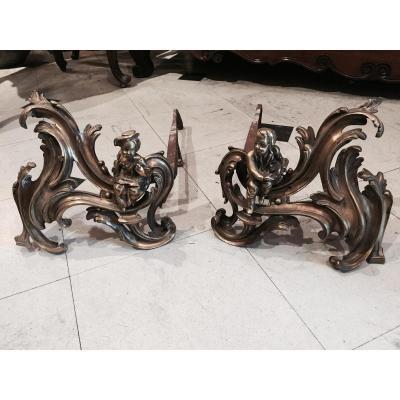 Paire De Chenets En bronze d'époque Louis XV