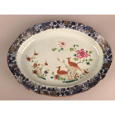 Grand Plat Ovale En Porcelaine De La Compagnie Des Indes époque XVIIIème Siècle