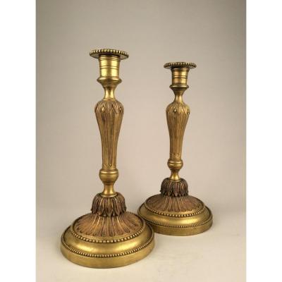 Paire De Chandeliers En Bronze Doré d'époque Louis XVI
