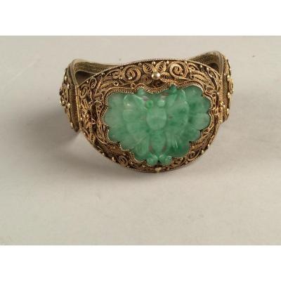 Bracelet Rigide  Ouvrant En Argent Doré Et Jade, Chine Dynastie Qing