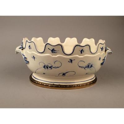 Verrière En Porcelaine Tendre ou faïence Du XVIIIème, Monture Argent