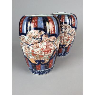 Paire De Vases En Porcelaine Du Japon Du XIXème Siècle
