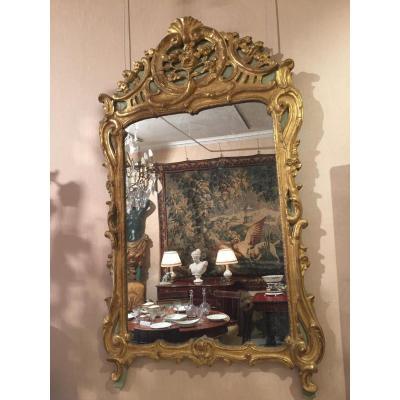 Miroir En Bois Doré d'époque Louis XV