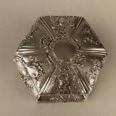 Boîte Hexagonale En Argent Du XIXème Siècle