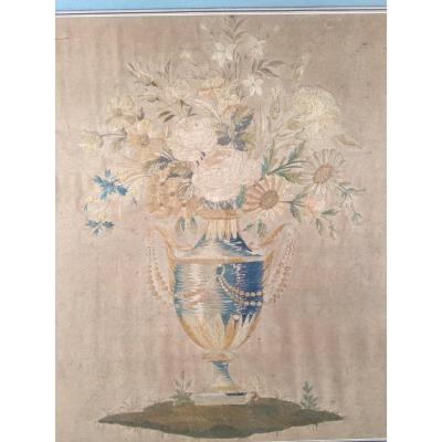 Bouquet De Fleurs  En Soie Brodée d'époque Empire