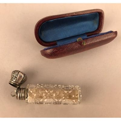 Crystal And Silver Salt Bottle And Its Case