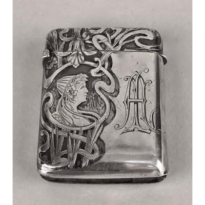 Silver match-box Art Nouveau<br />