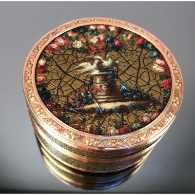 Boîte Ronde En Vernis Craquelé Et Marqueterie De Paille , Monture Or .  Paris 1768-1774.