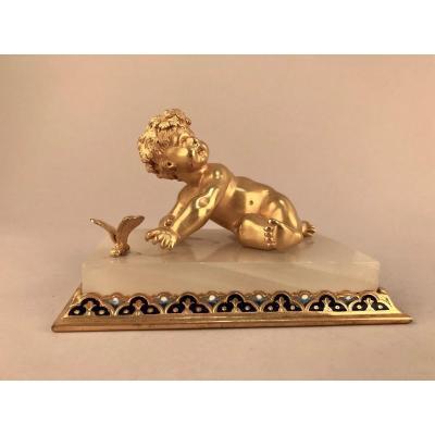 Sujet  en Bronze Doré Et Onyx