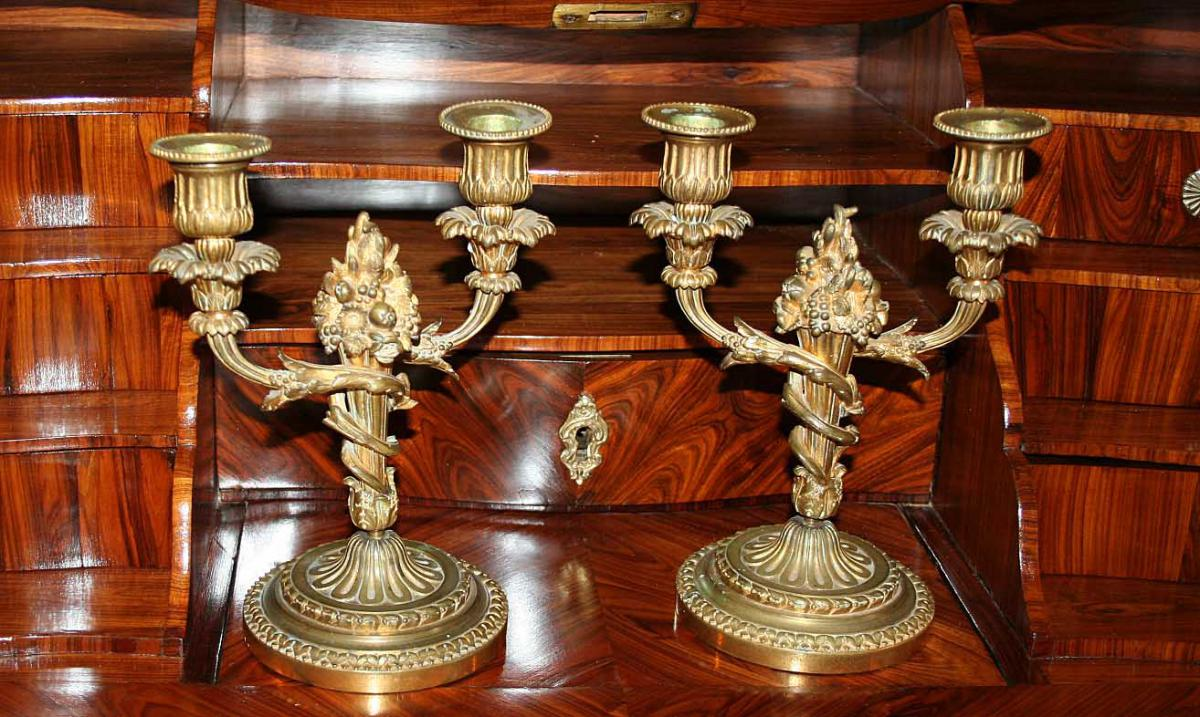 Pair Of Candlesticks In Bronze