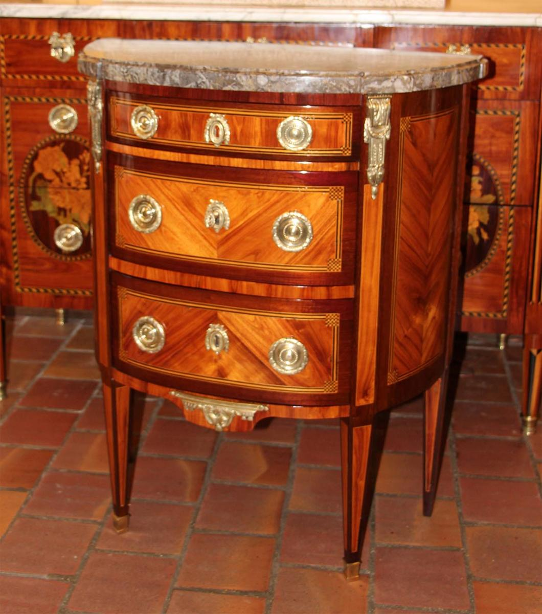 Commode Demi-lune D'époque Louis XVI