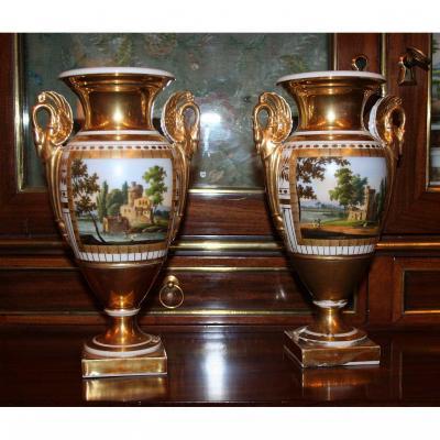 Paire De Vases D'époque Empire