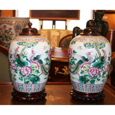Pair Of Porcelain Covered Potiches