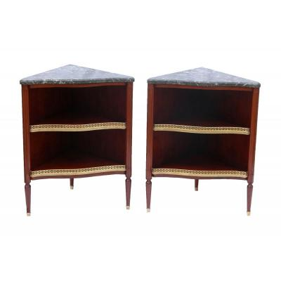Pair Of Louis XVI Period Corners Stamped Canabas