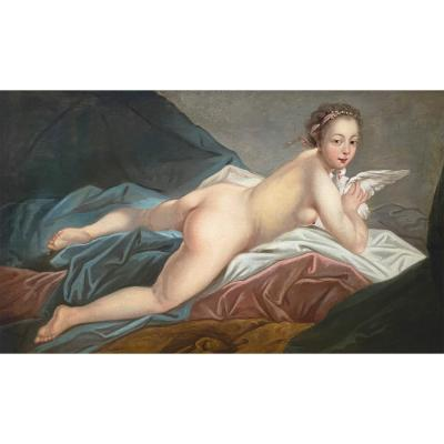 French school of the 19th,<br /> In the taste of Fran&ccedil;ois Boucher (1703-1770)<br /> Odalisque<br /> Oil on canvas<br /> 75X124cm<br /> Important carved and gilded wooden frame is Louis XVI style<br /> 125x146cm<br /> &nbsp;