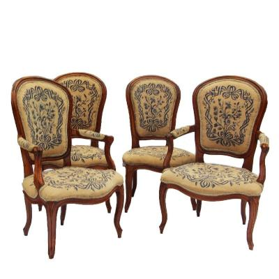 A Pair Of Convertible Armchairs And A Pair Of Louis XV Period Chairs
