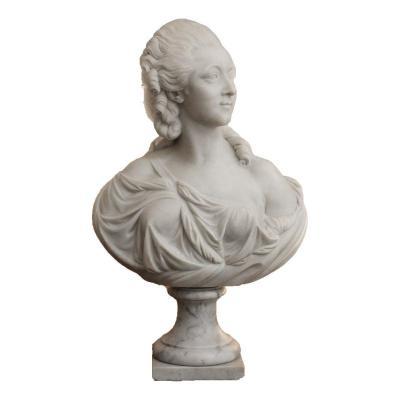 Madame Du Barry, Buste En Marbre Blanc D'après Augustin Pajou (1730-1809)