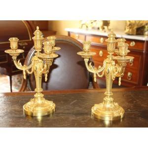 Paire De Candélabres De Style Louis XVI