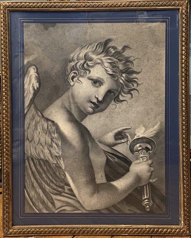 """""""Cupidon"""" ou """"Génie à la torche"""" Dessin au fusain 19ème"""