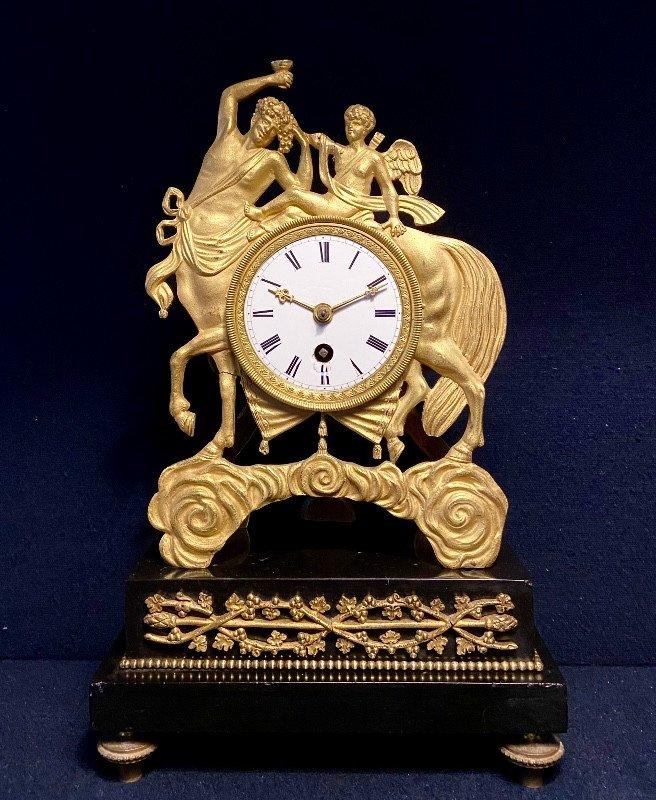 "Empire Clock ""centaur"" In Gilded Bronze"