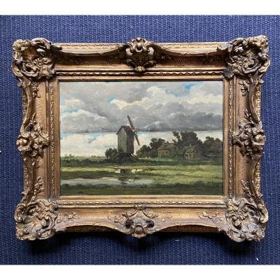Dutch School 19th Century. Windmill Landscape