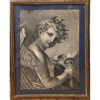 French school of the early 19th century. Charcoal and graphite drawing Representing a young winged Genius with a torch. Framed under glass, golden baguette frame. At sight H 49 x 37cm. Frame H 61.5 x 49.5 cm