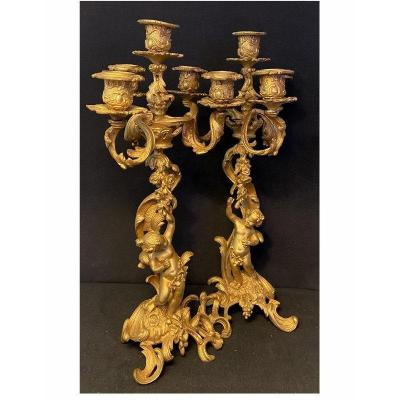 Pair Of Louis XV Style Candelabra, With Children In Gilt Bronze