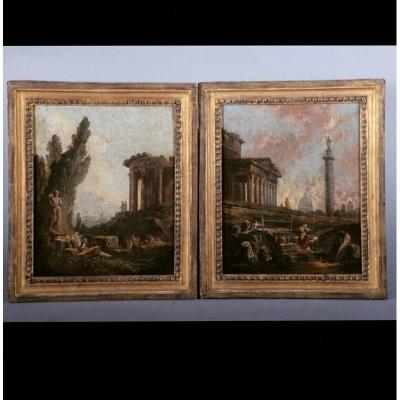 Pierre Antoine Demachy. Pair Of Architectural Caprices. Oil On Canvas.