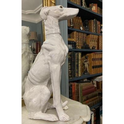 Seated Whippet Greyhound In White Glazed Earthenware (levrier)
