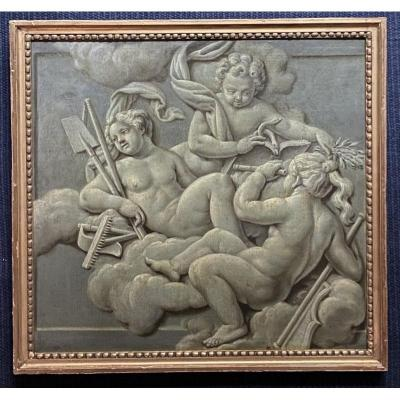 Trompe l'Oeil Of Putti In Grisaille, Follower Of Piat Sauvage. Hst Late 18th