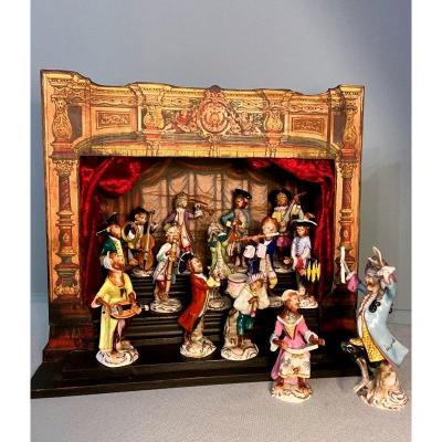 "Theater ""monkey Band Orchestra"" Saxe Volkstedt Porcelain, After Meissen"
