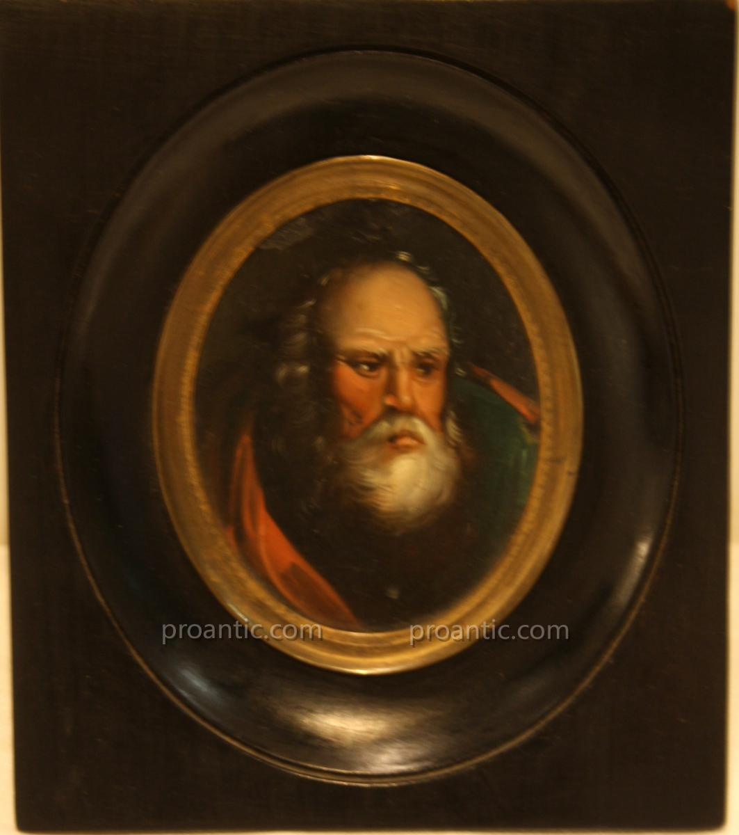 Miniature Portrait d'Un Vieil Homme XIX°