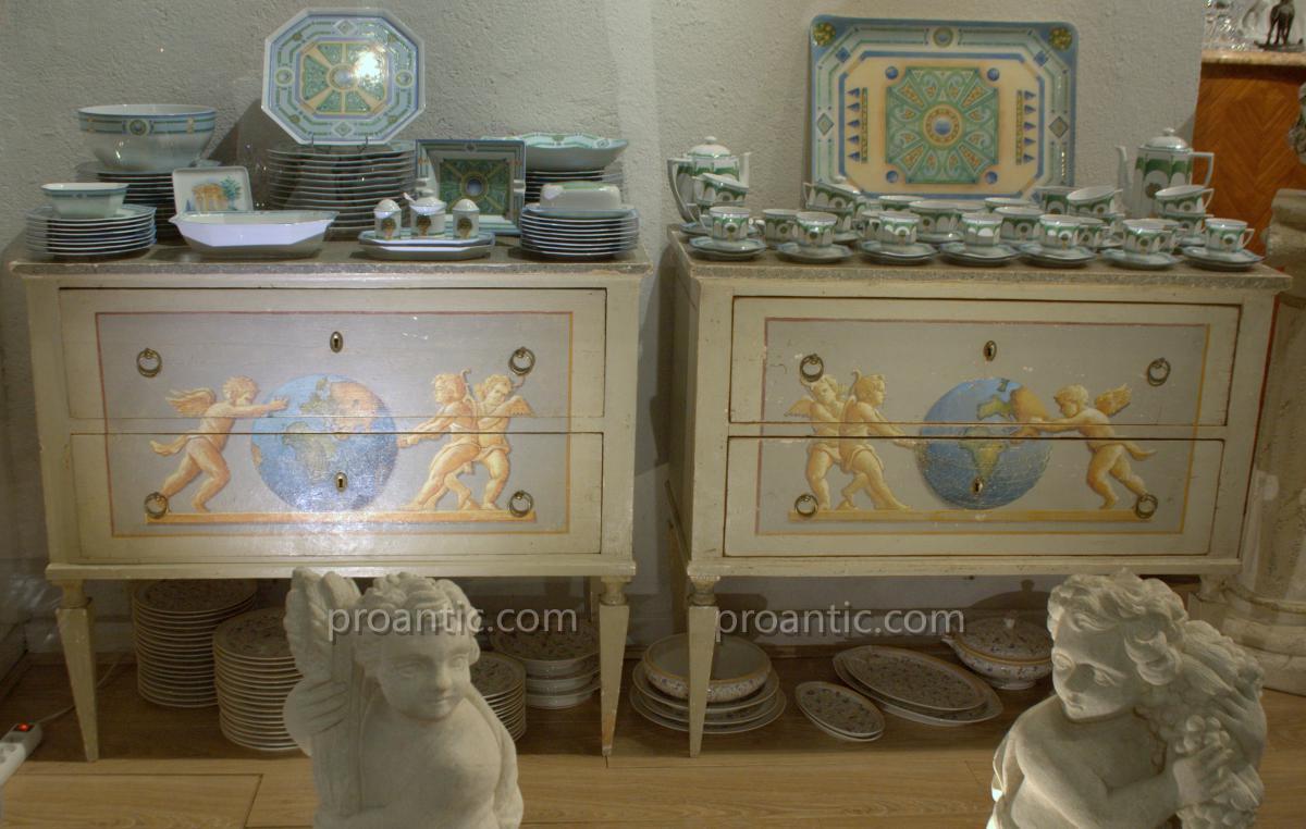 Pair Of Painted Dresser