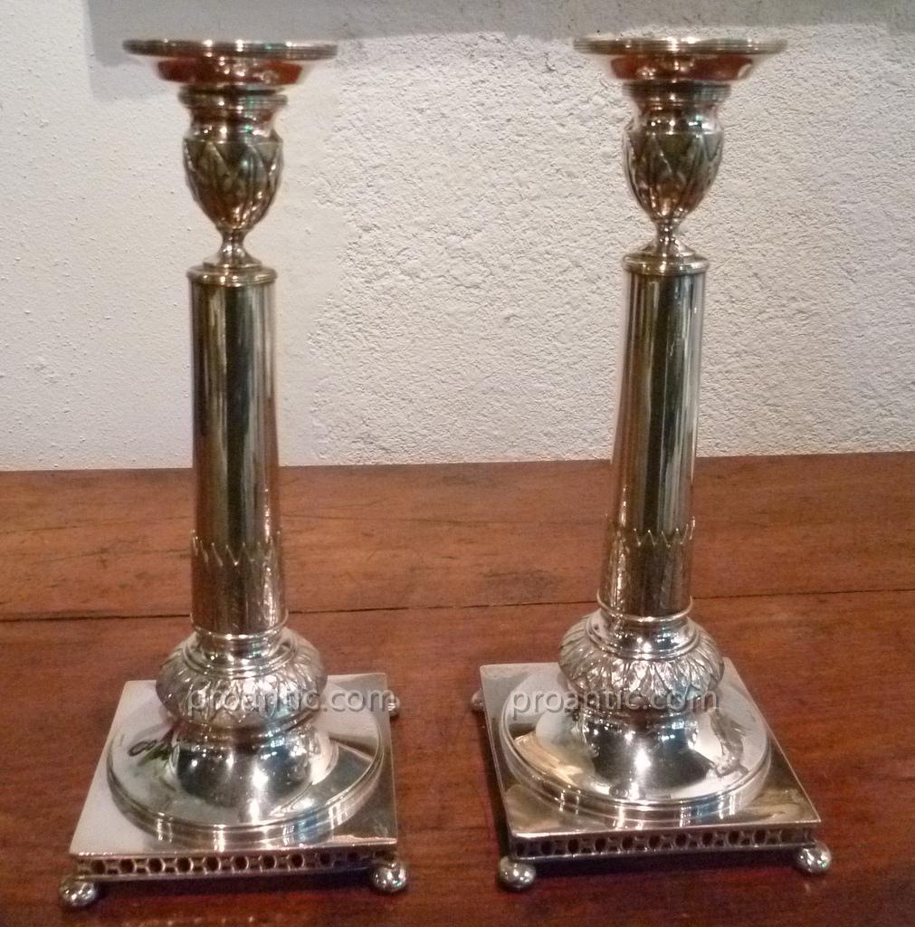 Pair Of Candlesticks In Silver Metal