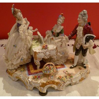 Group Porcelain Polychrome German Nineteenth