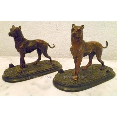 Pair Brozes Guard Dogs From Nineteenth