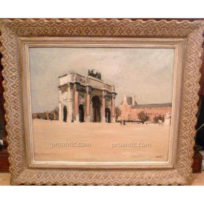 """Tableau """"L'arc De Triomphe Du Carrousel"""" Marcel Sahut"""