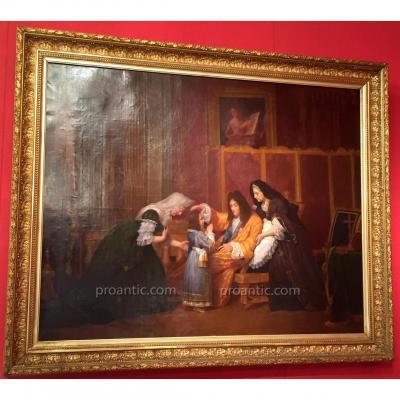 """Tableau """"Louis XIV Bénissant Son Arrière Petit Fils"""" XIX°"""