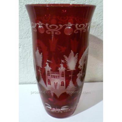 Bohemian Crystal Vase Red