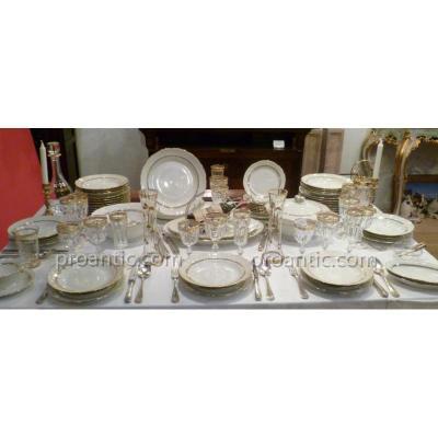 Service De Table En Porcelaine Blanche Filet Doré