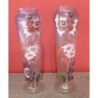 Pair Of Enamelled Vases