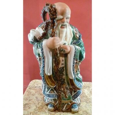 Grande Statue Sage Chinois En Céramique XIX°
